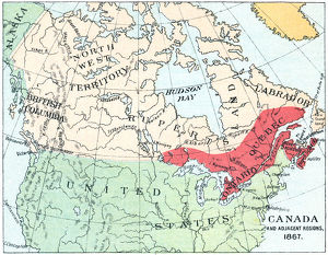 Antique Map of North America at Canada's Confederation - 19th Century