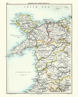 Antique map, North Wales, Anglesey, Carnarvon, 19th Century