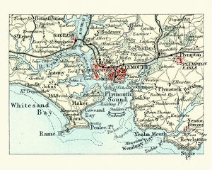 Antique map, Plymouth and Devonport, England, 19th Century