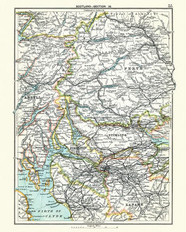 Antique map, Scotland, Glasgow, Perth, Argyll, Lanark, 19th Century