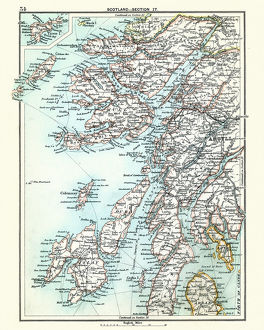 Antique map, Scotland, Jura, Mull, Argyll, Islay 19th Century