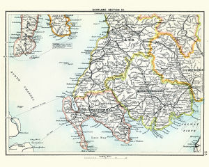 Antique map, Scotland, Wigtown, Kirkcudbright, Ayr 19th Century