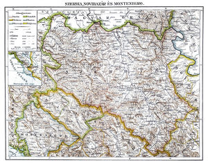 Antique map of Serbia ,Novi Pazar and Montenegro