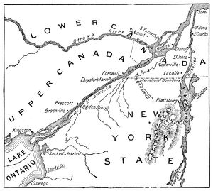Antique Map of St. Lawrence Area during the War of 1812 - 19th Century