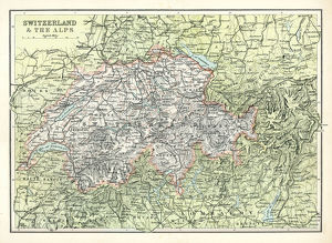 Antique map of Switzerland and the Alps
