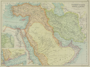 Antique map of Turkey in Asia , Persia and Arabia