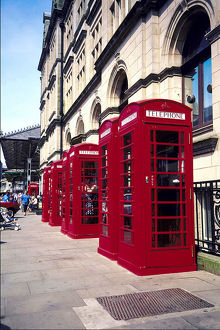 Old-fashioned telephone booths in Lancashire , England