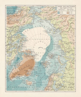 Arctic Ocean and adjacent countries, lithograph, published in 1897