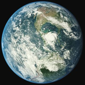 Satellite View Of Hurricane In Planet Earth