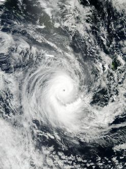 Tropical storm at Pacific island of New Caledonia