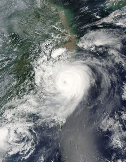 Satellite image of typhoon Saomai over Taiwan and china