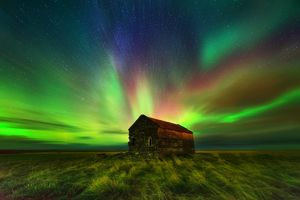 Aurora Borealis above Barn