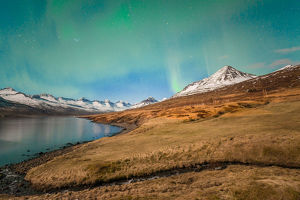 Aurora borealis over the beautiful mountains fjord of Iceland.
