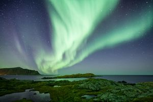 Northern lights aurora borealis Lofoten nature