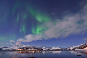 Aurora Borealis under Full Moon in Senja, Norway