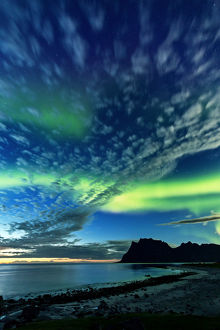 Aurora borealis in twilight in Norway