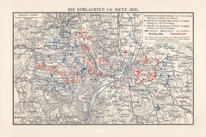 Battles near Metz, Franco-Prussian War in 1870, lithograph, published 1897