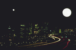 Full moon in a city
