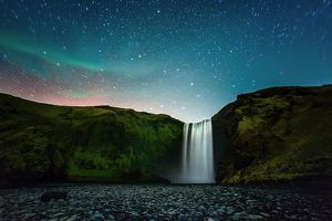 Beautiful Night at Skagafoss Waterfall