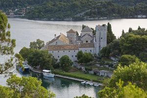 Benedictine monastery on the island of St. Maria in Veliko Jezero, Great Lake, National Park Mljet