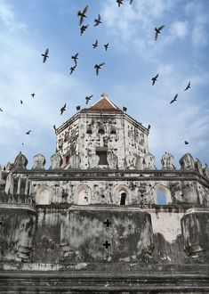 Birds flying over Phra Sumen Fort