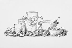 Black and white illustration of ingredients and utensils for making freshly squeezed