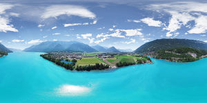 Breathtaking View above Emerald-colored Waters of Lake Brienz in Switzerland