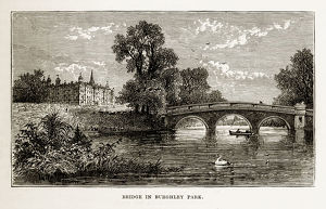Bridge in Burghley Park, Stamford, England Victorian Engraving, Circa 1840