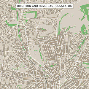 Brighton And Hove East Sussex UK City Street Map