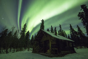 Cabin under the Northern lights