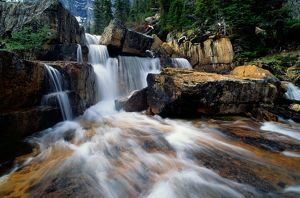 Canada, Alberta, Banff NP, Giant Steps Waterfall, water cascading