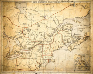 Canada British America map of 1869