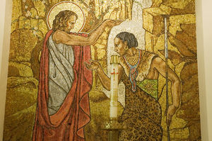 Close-up of a mosaic painting on the wall, St. Mathew's Cathedral, Washington DC, USA