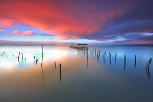 global landscape views/fred concha photography/carrasqueira pier built traditional wooden stakes
