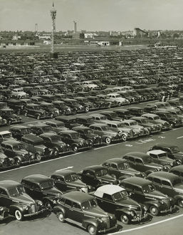 Cars in rows on parking lot, (B&W), (Elevated view)