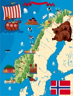 A cartoon illustration of a Norway map