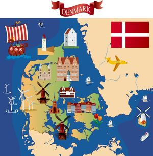 Cartoon map of Denmark