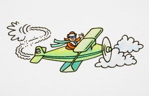 Cartoon, pilot flying green open-topped aeroplane among clouds and waving, his scarf