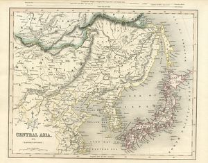 Central Asia including Japan antique map 19th century 1843