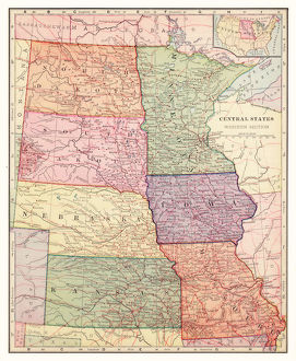 Central states USA map 1892