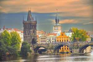 Charles Bridge and Powder Tower at dusk, Prague