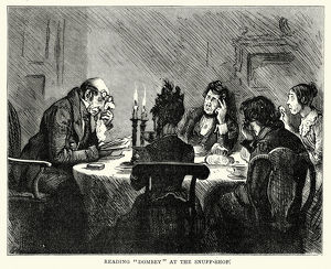 Charles Dickens - Reading Dombey at the snuff shop
