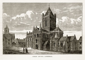 Christ Church Cathedral in Dublin, Ireland Victorian Engraving, 1840