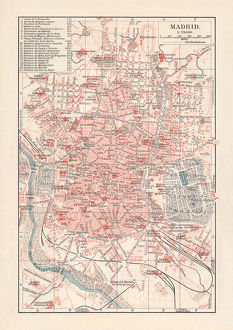 City map of Madrid, capital of Spain, lithograph, published 1897