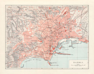 City map of Naples (Italian: Napoli), Italy, lithograph, published 1897