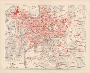 City map of Rome, lithograph, published in 1878