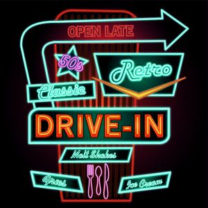bar art prints/classic drive in theatre neon sign