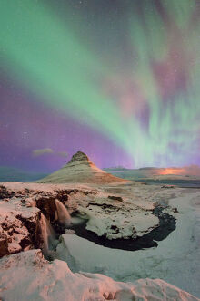 Colorful Aurora over Kirkjufell, Iceland