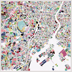 colorful Tokyo art map background 2