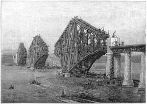 Construction of Forth Bridge near Edinburgh